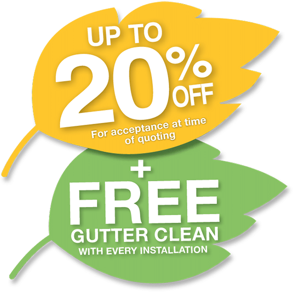 Gutter guard special. Get 20% off